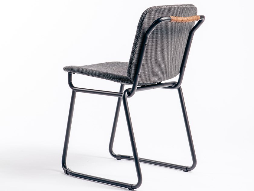 Sled base fabric chair with integrated cushion BABYLONE 03 by Manganèse Éditions