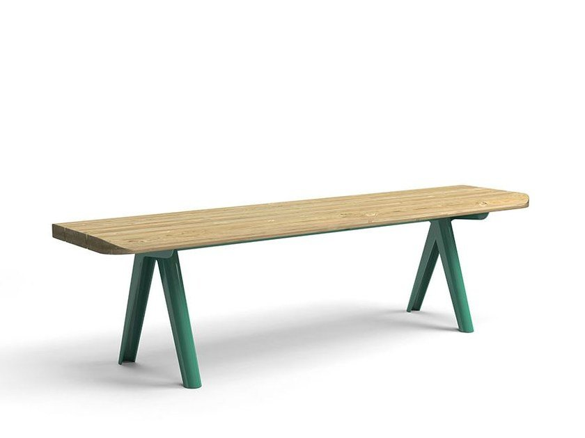 Backless steel and wood Bench NUNU | Backless Bench by VESTRE