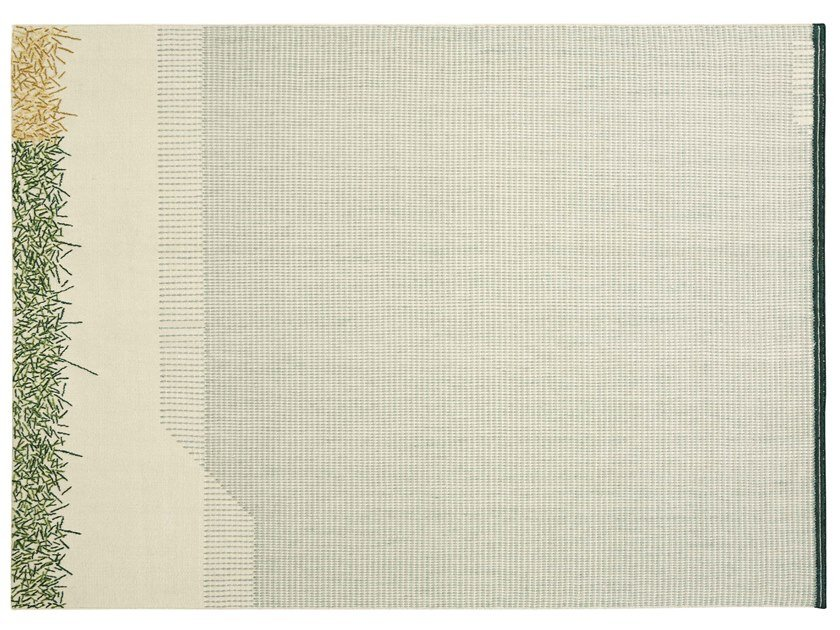 Handmade rectangular striped wool rug BACKSTITCH CALM GREEN by GAN