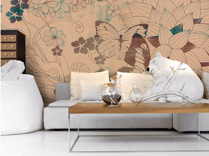 Panoramic wallpaper with floral pattern BACKYARD by Inkiostro Bianco