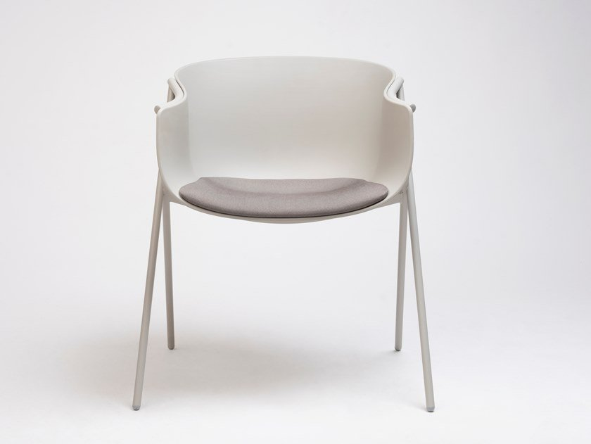 Polypropylene chair with armrests with integrated cushion BAI | Chair with integrated cushion by ONDARRETA