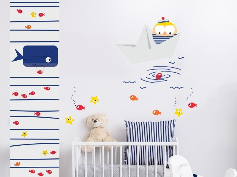 Fabric kids wallpaper BALEINE DIRIGEABLE | Wallpaper by ACTE-DECO