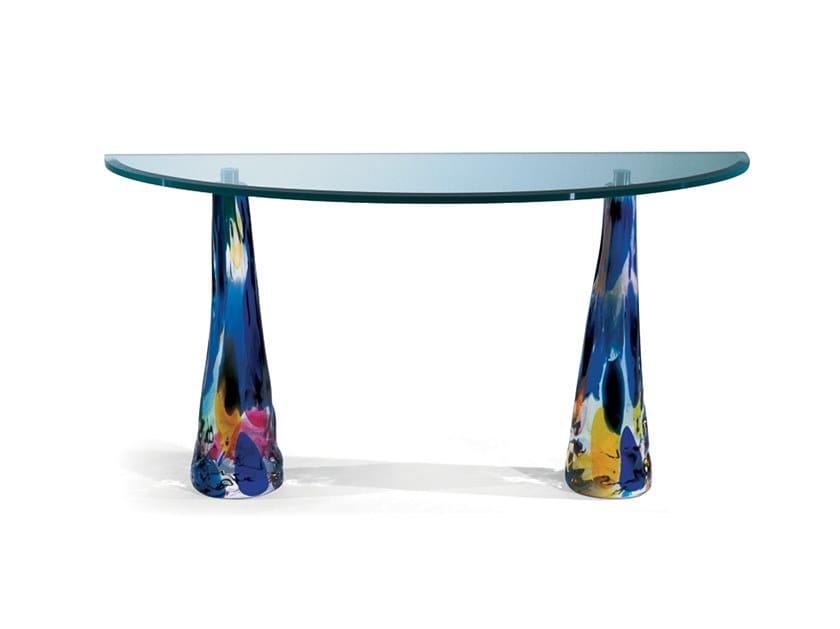 Demilune glass console table BALI by Reflex