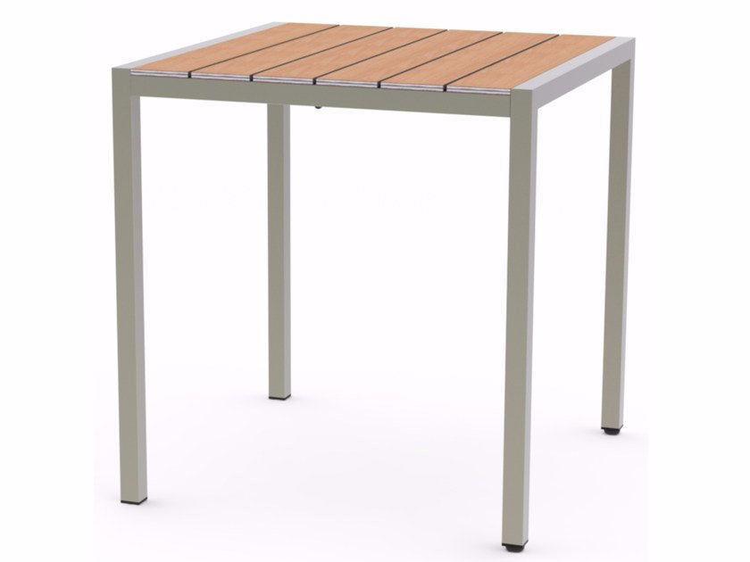 Square Stainless Steel And Wood Garden Table Baltic By Adico