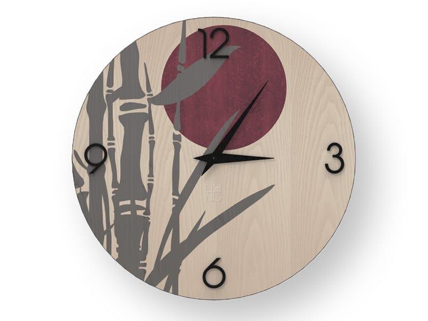 Orologio da parete in legno intarsiato BAMBOO COLD | Orologio by LIGNIS®