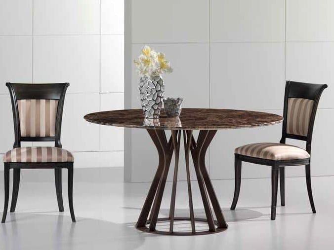 Round Dark Emperador marble table BAMBOO | Dark Emperador marble table by International Marmi
