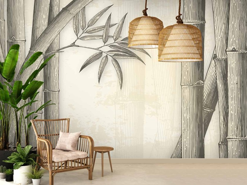 Digital printing Tropical wallpaper BAMBOO by LGD01