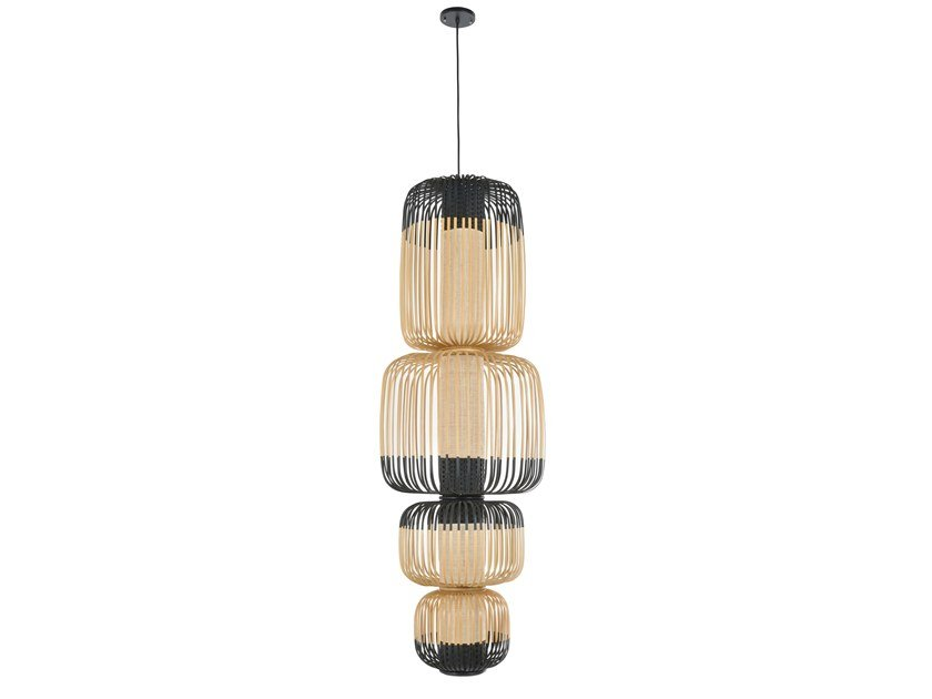 Bamboo pendant lamp BAMBOO LIGHT TOTEM 4 LIGHTS | Pendant lamp by Forestier