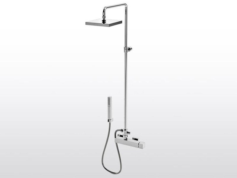 Shower panel with hand shower BAMBOO QUADRO 3283TA/304 by RUBINETTERIE STELLA
