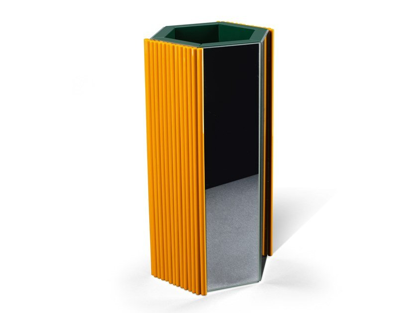 Mirrored glass and wooden vase BAMBOO by Visionnaire