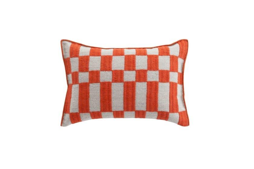 Rectangular hand embroidered wool cushion BANDAS B | Cushion by GAN