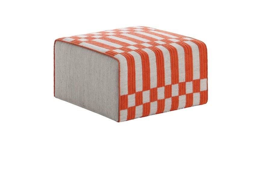 Upholstered fabric pouf BANDAS B | Square pouf by GAN