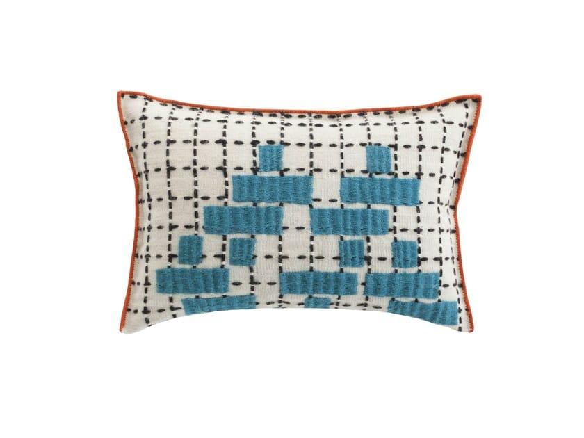 Rectangular hand embroidered wool cushion BANDAS C | Cushion by GAN