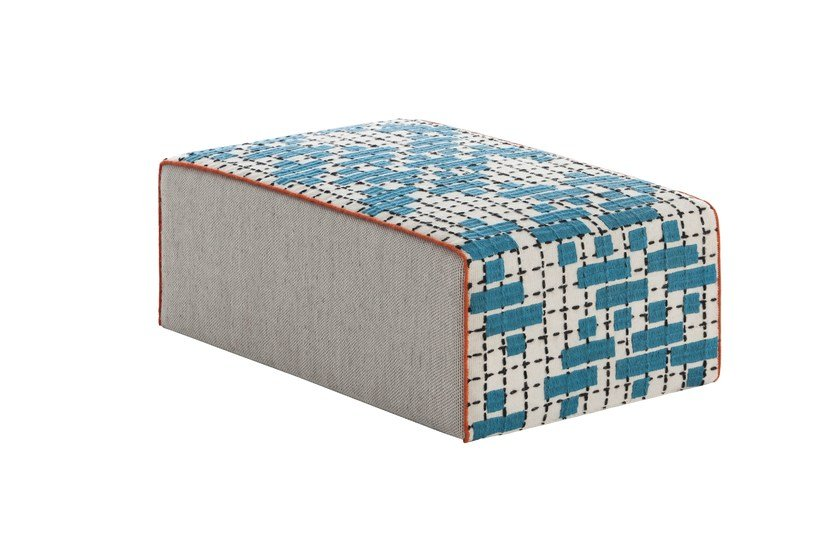 Upholstered fabric pouf BANDAS C | Rectangular pouf by GAN