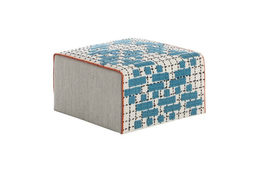Upholstered fabric pouf BANDAS C | Square pouf by GAN