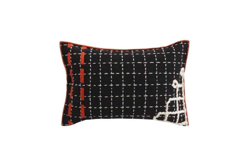 Rectangular hand embroidered wool cushion BANDAS D | Cushion by GAN