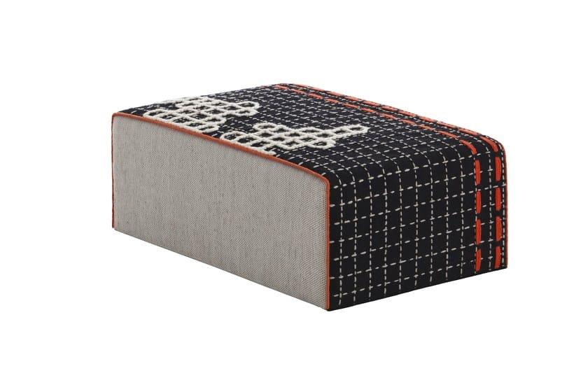 Upholstered fabric pouf BANDAS D | Rectangular pouf by GAN