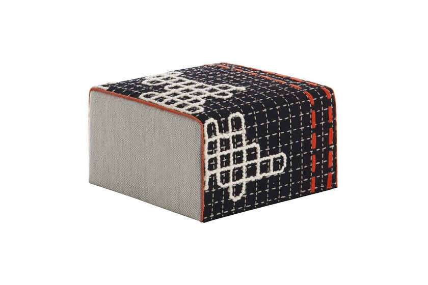 Upholstered fabric pouf BANDAS D | Square pouf by GAN