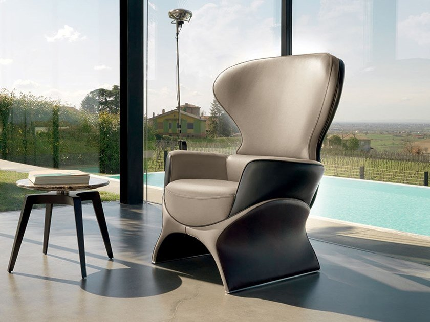 Leather armchair with armrests BARBABLU | Armchair by Mascheroni