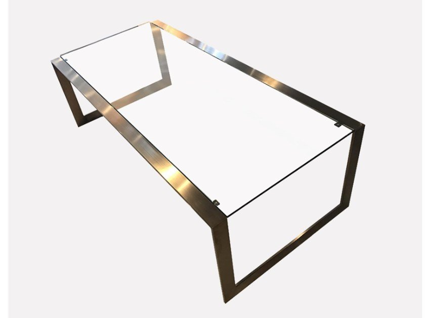 Rectangular glass and steel coffee table BARCELONA | Coffee table by MORADA