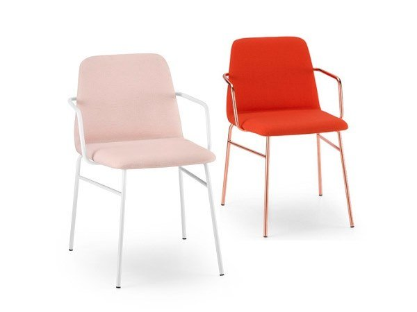 Fabric chair with armrests BARDOT MET | Chair with armrests by TrabA'
