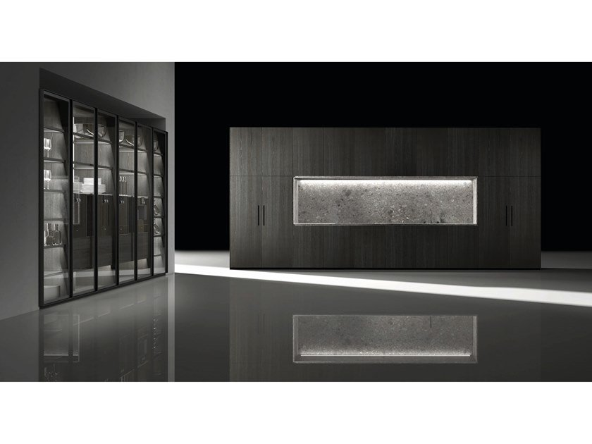 Contemporary style fitted kitchen BARNA TINT OLMO by Doca