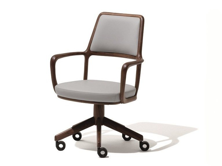 Chair with 5-spoke base with casters BARON | Chair with casters by GIORGETTI