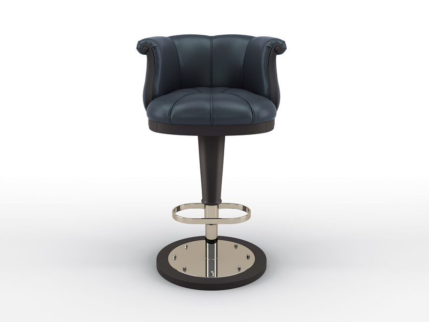 High leather barstool with footrest FLOWER | Barstool by BRUNO ZAMPA