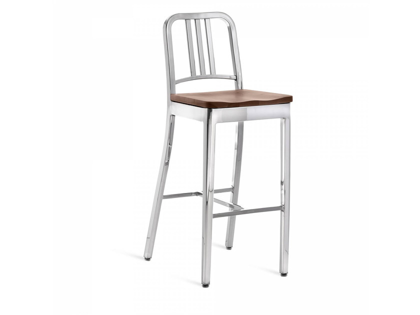High aluminium and wood barstool 1104 NAVY | Barstool by Emeco