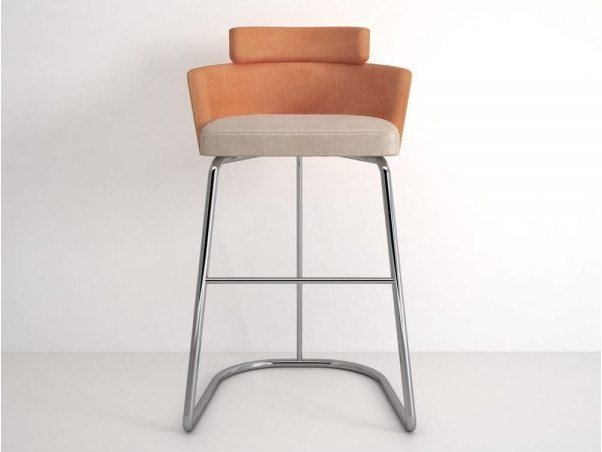 Upholstered velvet barstool with back ATHENS | Barstool by Emotional Projects