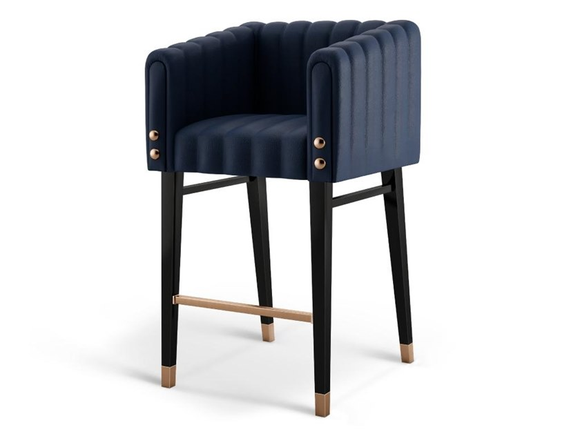 High leather stool with back INGLEWOOD | Barstool by Porustudio