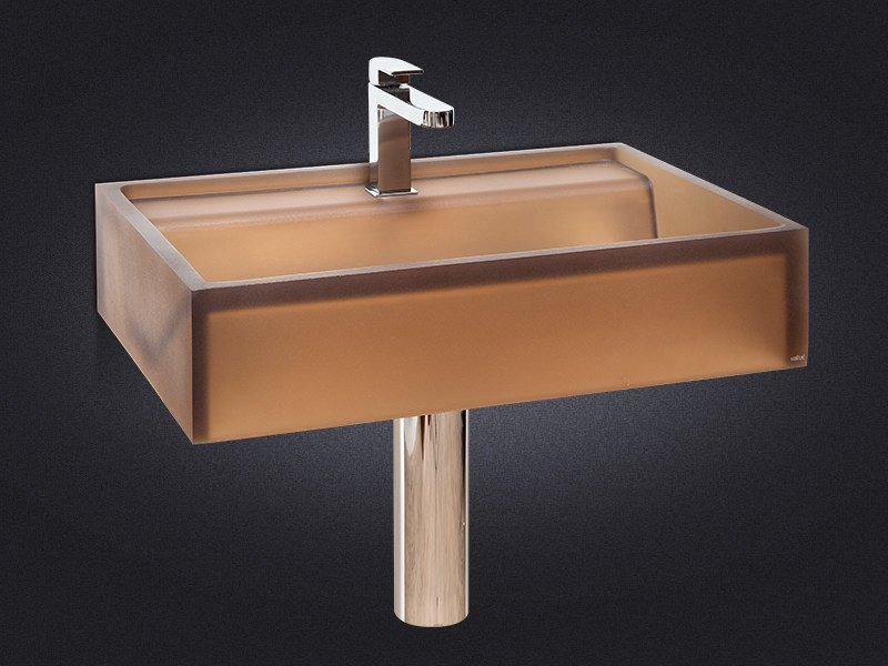 Rectangular wall-mounted resin washbasin BASE by Vallvé