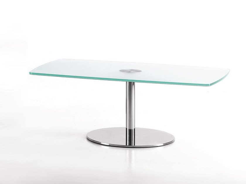 Rectangular glass and steel coffee table for living room BASIC 854 C by TALIN
