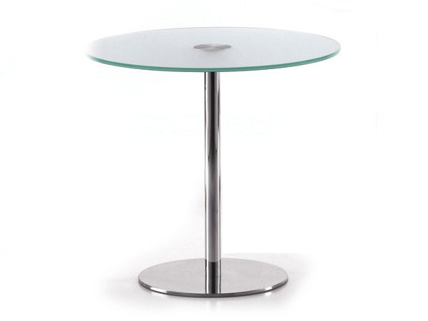 Round glass and steel table BASIC 856 C by TALIN