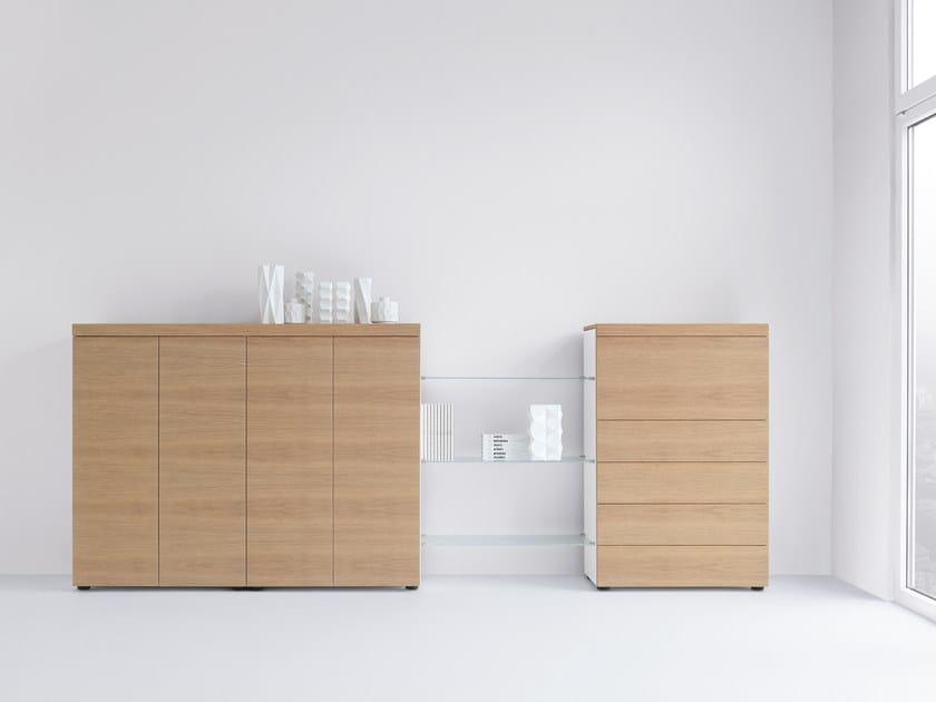 Wood veneer office storage unit BASIC CAP | Wood veneer office storage unit by werner works