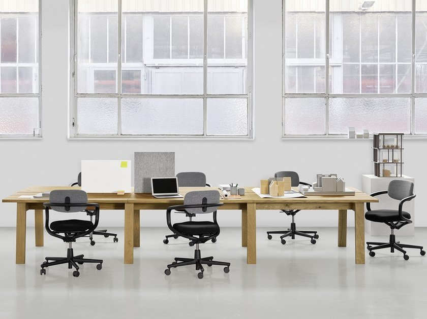 Rectangular solid wood workstation desk BASIS | Workstation desk by e15