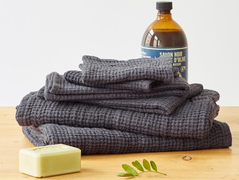 Linen waffle towel DARK GREY | Bath Towel by Linen Tales