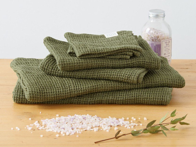 Linen waffle towel MARTINI OLIVE | Bath Towel by Linen Tales
