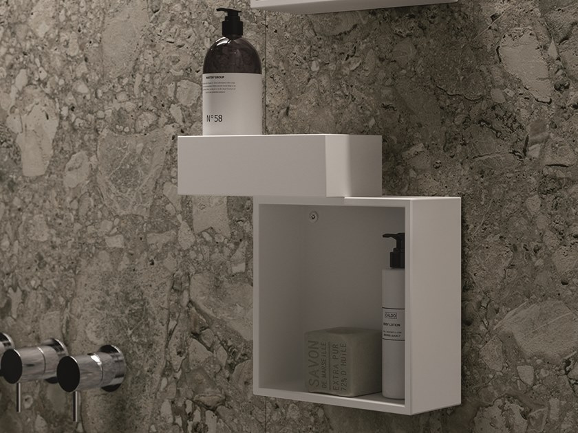 Open suspended Tecnoril® bathroom wall cabinet NEROLAB | Bathroom wall cabinet by Cerasa
