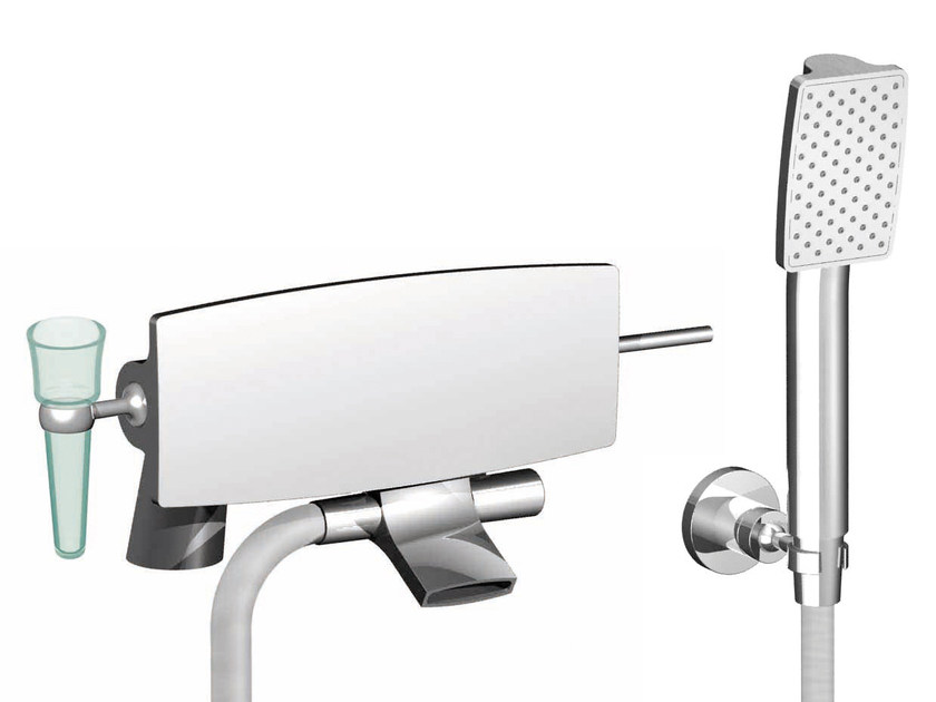 Chromed brass bathtub mixer with hand shower DE SOTO F3654/5 | Bathtub mixer by FIMA Carlo Frattini