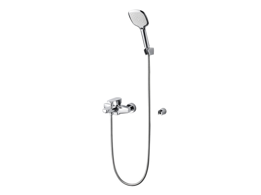 Wall-mounted chromed brass bathtub mixer with hand shower PAN II | Bathtub mixer by JUSTIME