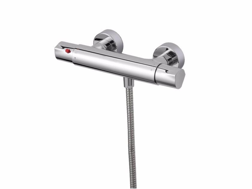 Miscelatore per doccia termostatico in ottone cromato con flessibile