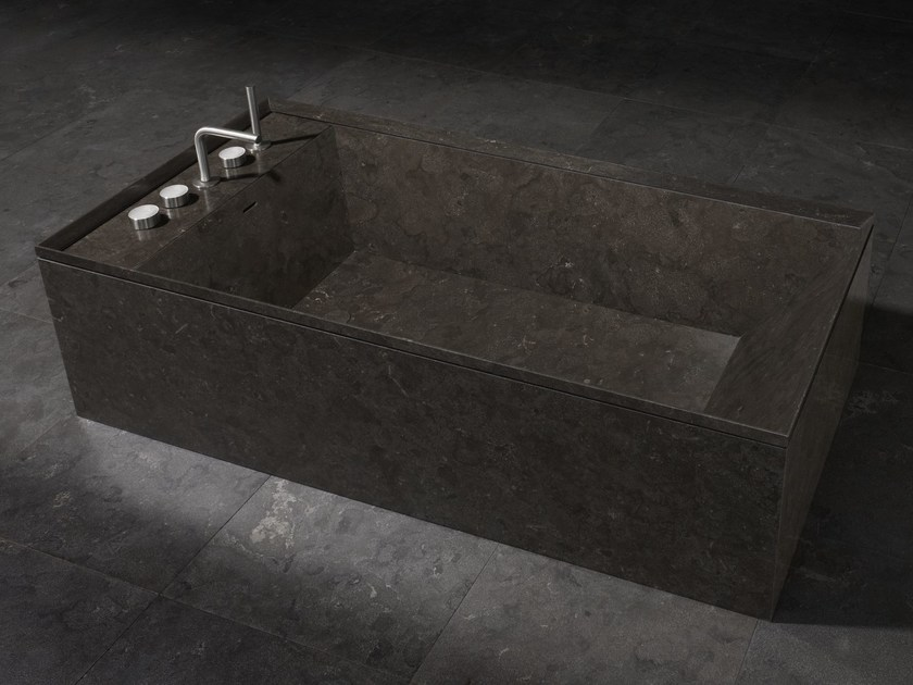 Freestanding rectangular marble bathtub ONSEN | Bathtub by SALVATORI