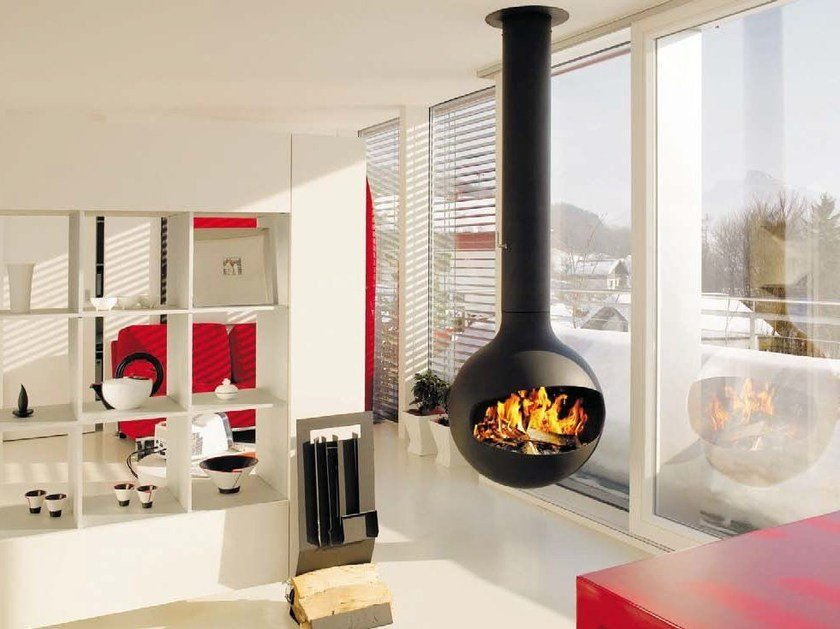Central swivel hanging fireplace BATHYSCAFOCUS HUBLOT by Focus creation
