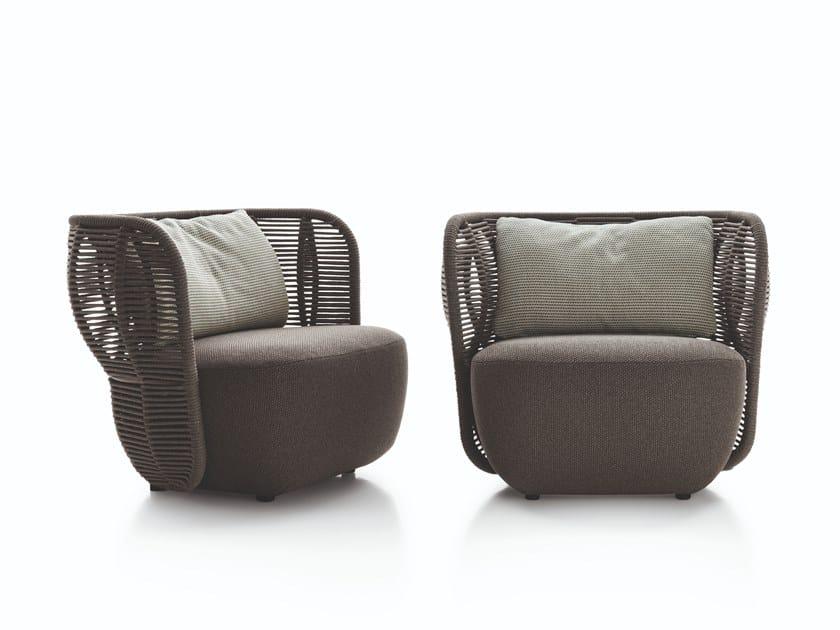 Fabric garden armchair with armrests BAY   Garden armchair by B&B Italia Outdoor
