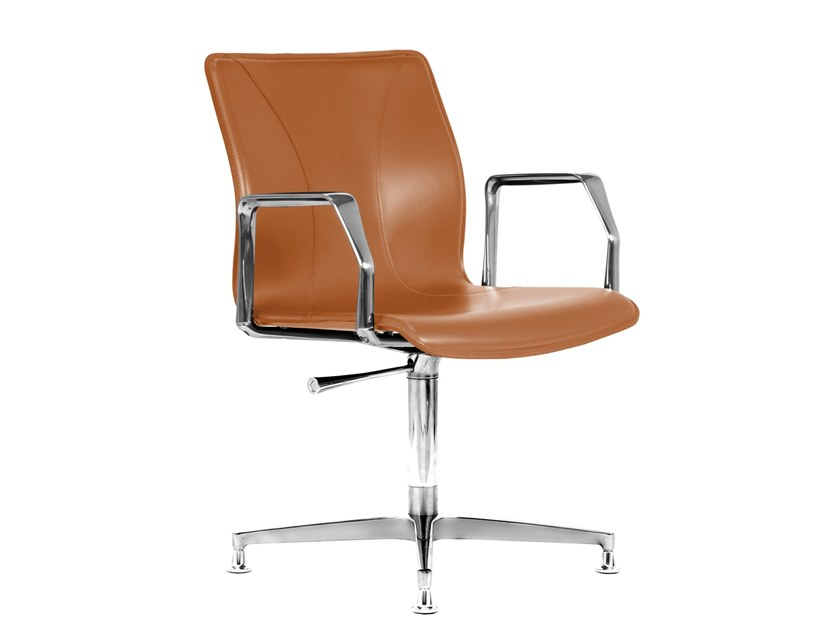 Cuoietto leather training chair with 4-spoke base BB641.10 | Chair by Kleos