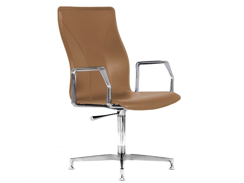 Cuoietto leather training chair with 4-spoke base BB641.11 | Chair by Kleos