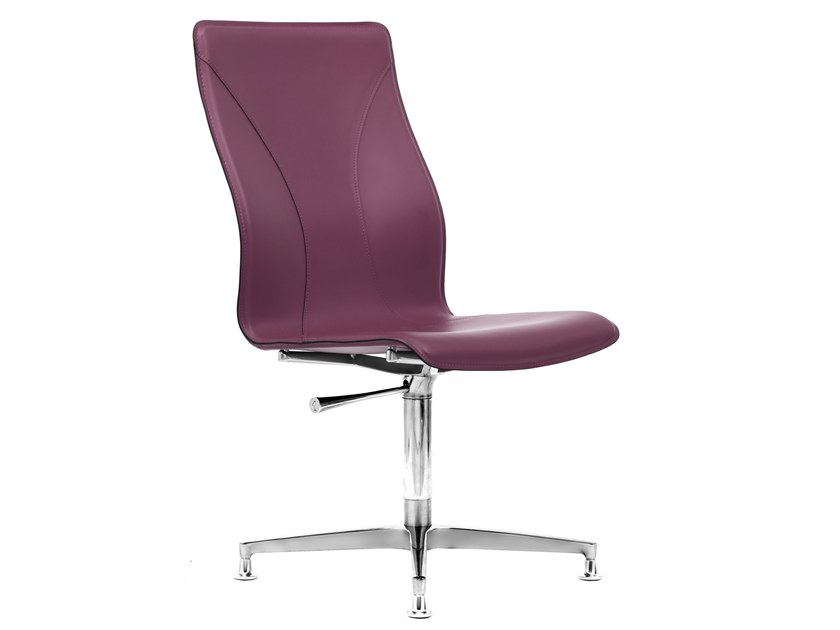 Cuoietto leather training chair with 4-spoke base BB641.8 | Chair by Kleos