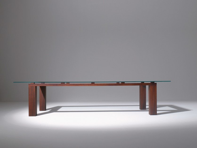 Rectangular wood and glass table BD01 by Laurameroni