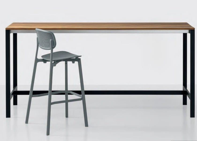 Rectangular teak high table BE-EASY SLATTED | High table by Kristalia